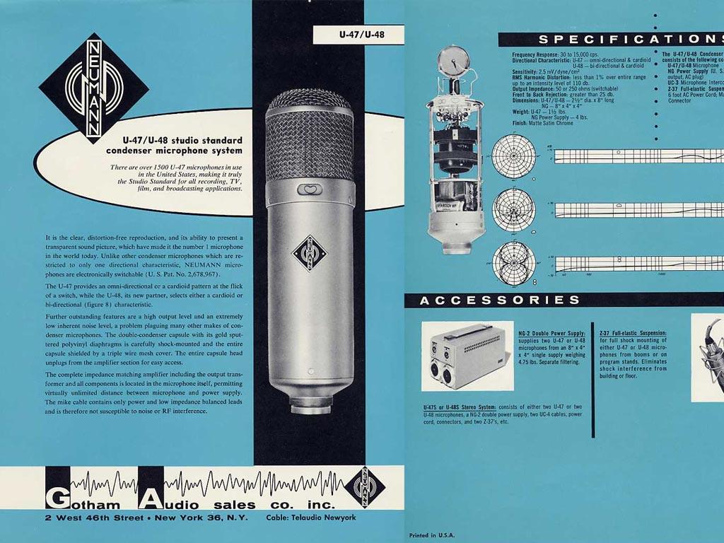 1949年、ゲオルグ・ノイマンが世に放ったコンデンサーマイクU47の性能を伝える広告。