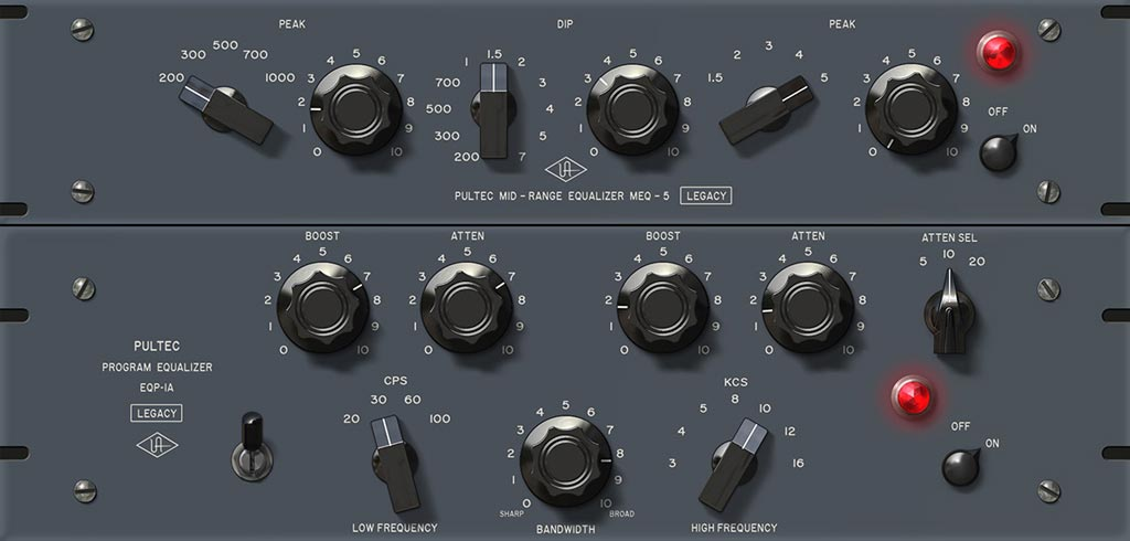 Universal Audio社のパルテックEQのプラグインのスクリーンショット。