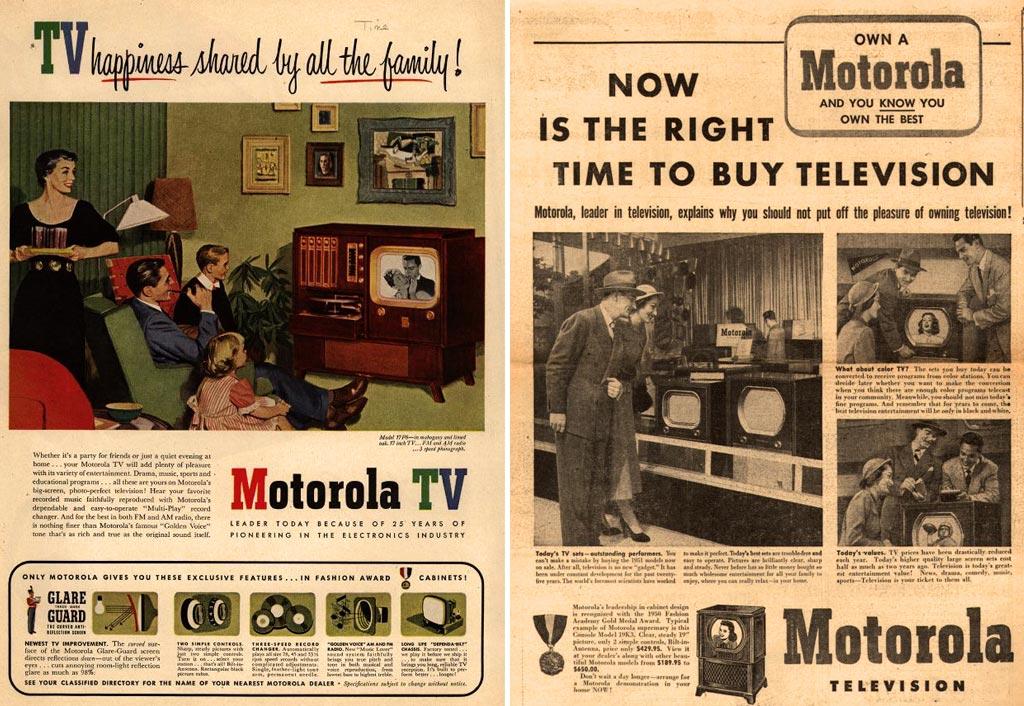 1950年代、アメリカにおけるテレビの広告。