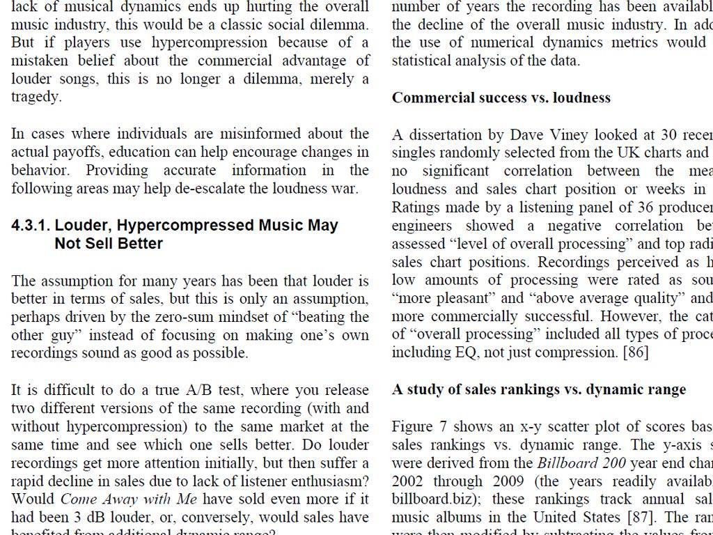 ラウドネス戦争と商業性の関連を否定したEarl Vickersの論文画像。