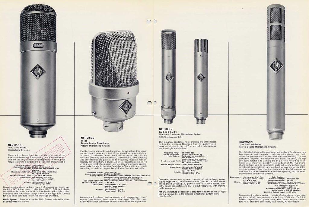 U67発売時、M49、KM54、KM56、SM2などノイマンマイクの製品ラインアップを伝える広告。