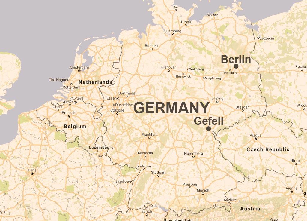 ドイツ、テューリンゲン州に位置する町、ゲフェルの地図。