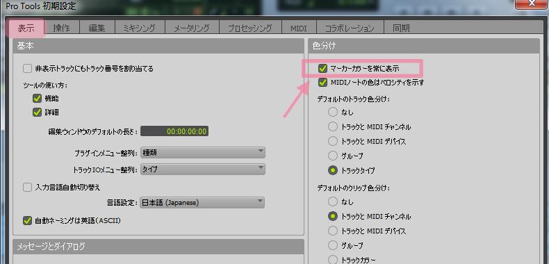 Pro Tools 初期設定画面で「表示」を選択した状態。
