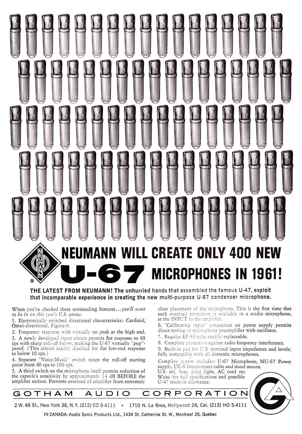 米国でノイマンコンデンサーマイクを取り扱っていた「ゴッサムオーディオ」によるU67の広告。
