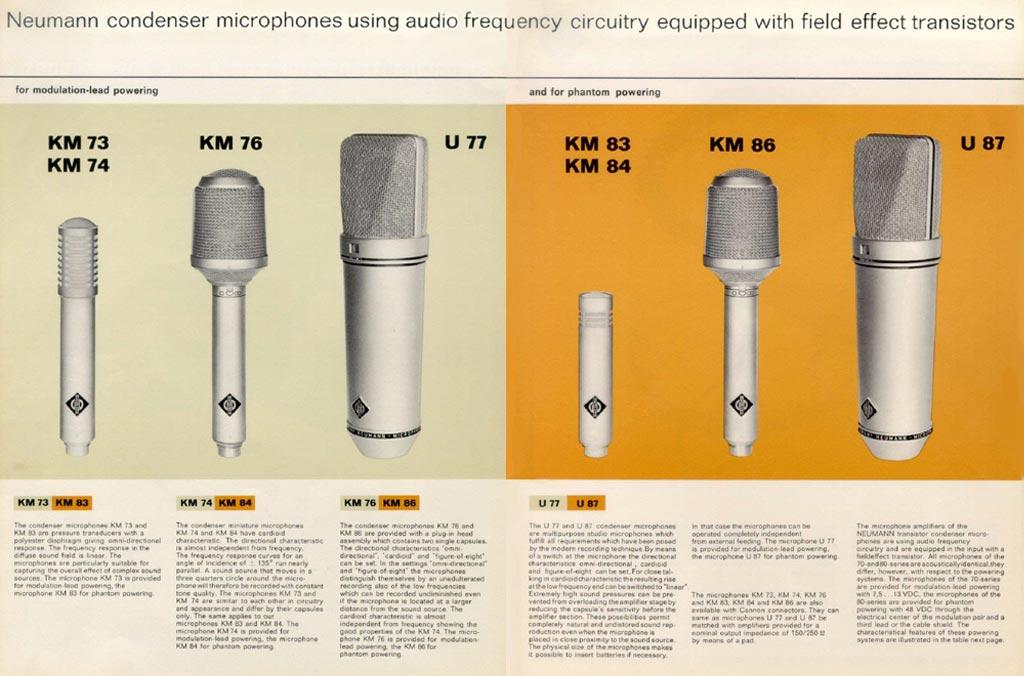 ノイマンU77、U87などのラインアップを伝えるゴッサム・オーディオの広告。