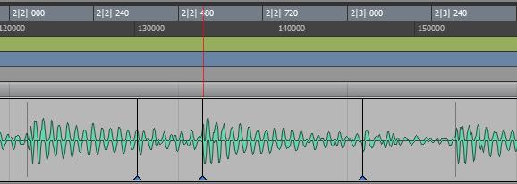 波形タイミングを移動させるハンドルを表示させた状態。