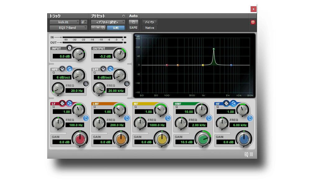 プロツールスのパラメトリックEQ「EQ-3 7Band」