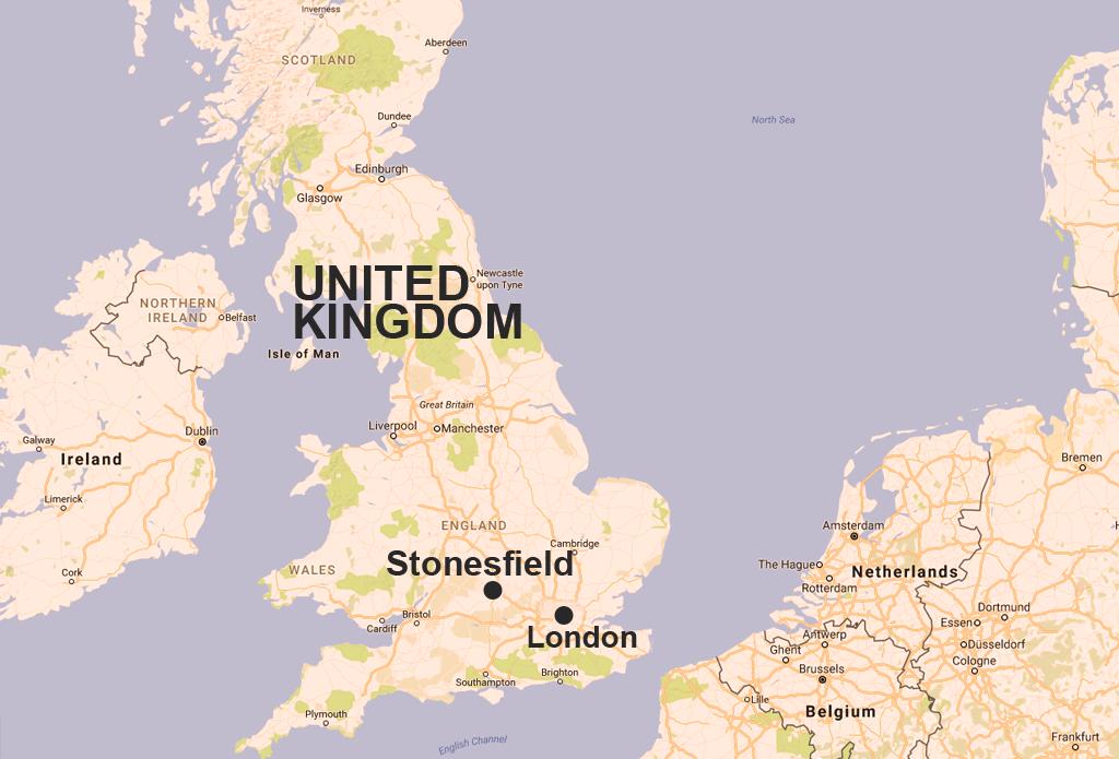 オックスフォードシャー州、ストーンフィールドの地図
