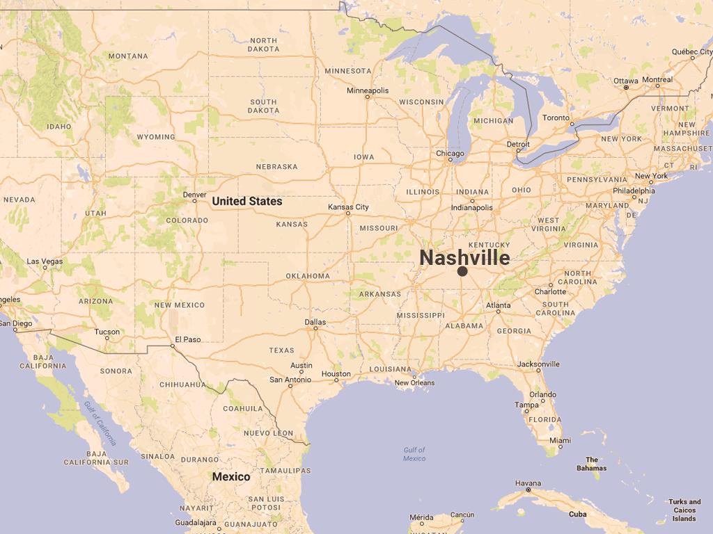 テネシー州ナッシュビルの地図