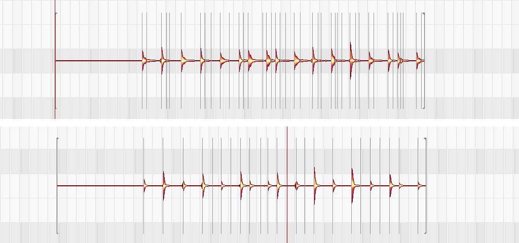 Melodyne画面 ハイパスフィルター適用後との比較