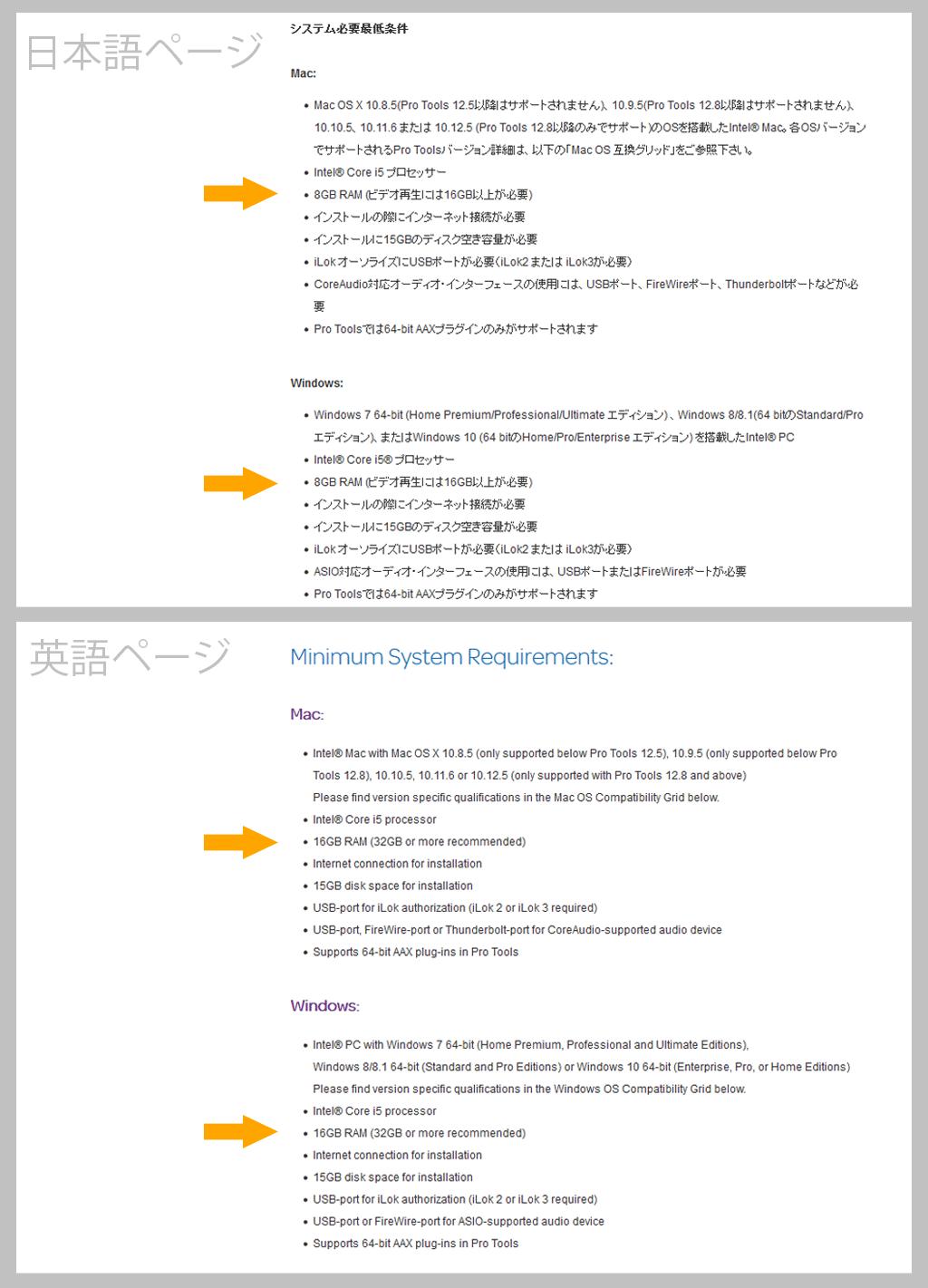 プロツールス「システム要件」の比較スクリーンショット