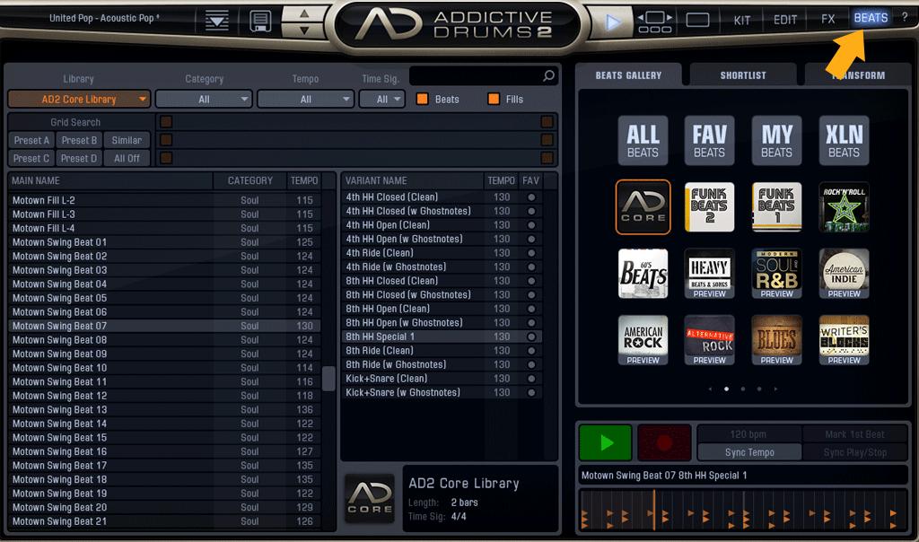 AD2-BEATS選択画面