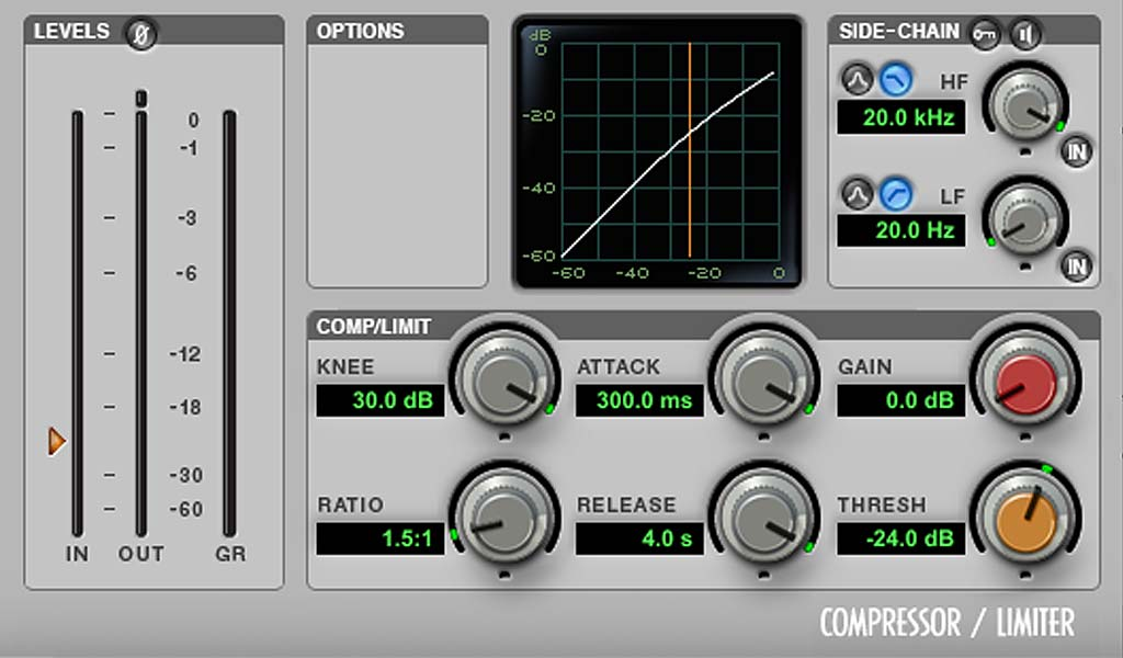 ProTools Dyn3コンプレッサー アタック・リリース最も遅い設定