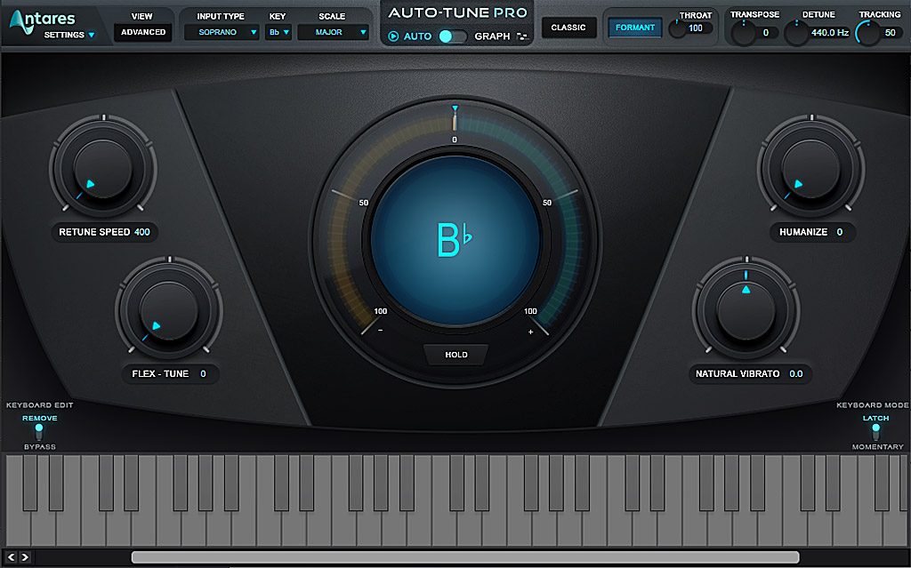 ボーカルのピッチ修正:Antares Auto-Tune Pro 画面
