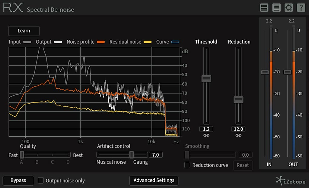 iZotope Spectral De-noise ノイズ除去 設定