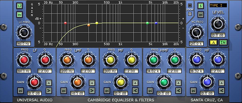 """Universal Audio """"Cambridge EQ""""におけるQ=12dB/octのハイパス・フィルター"""