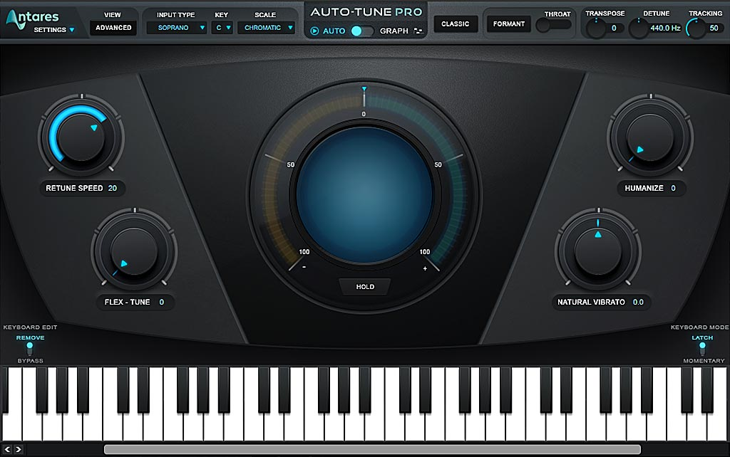 ボーカルピッチ修正ソフトAntares Auto-Tune Pro 初期画面