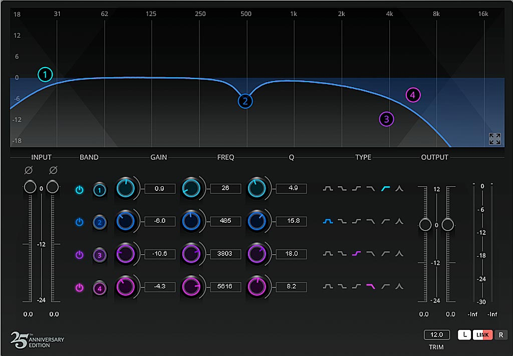 Waves Q4 イコライザーによるリバーブ音のカット