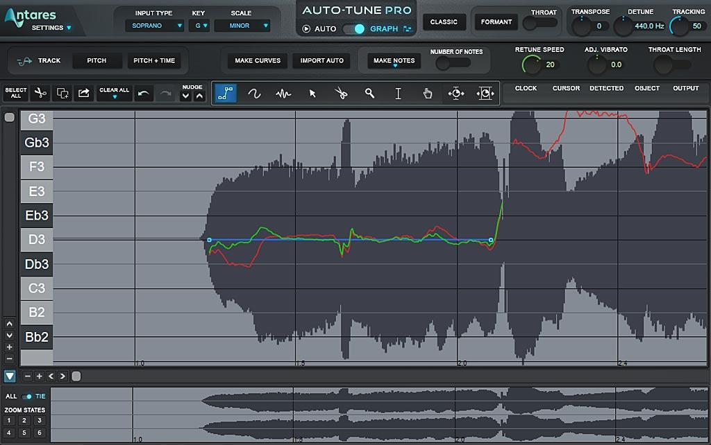 ボーカルの音程修正: ラインツールと補正後の音程(緑)