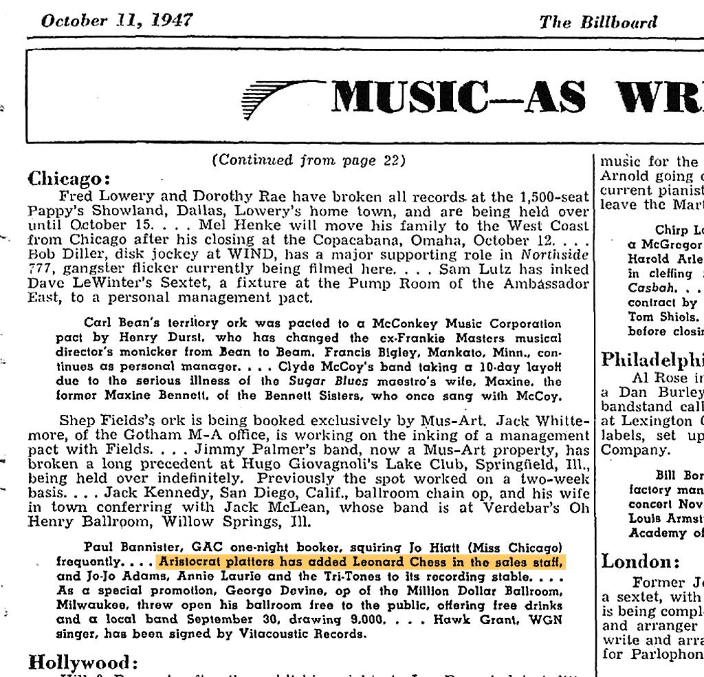 1947年ビルボード誌によるアリストクラットの記事