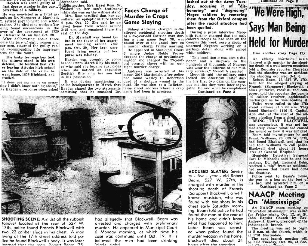 1962年10月インディアナポリスのローカル紙